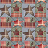 Seamless checkered kids patchwork stars pattern background. In brown colors Royalty Free Stock Photography