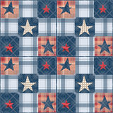 Seamless checkered patchwork stars pattern Stock Photos