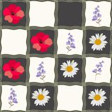 Seamless checkered pattern with daisy, poppy and bell flowers. Patchwork style. Print for fabric, ceramic tile vector illustration