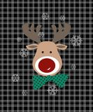 Seamless checkered pattern with deer christmas style Royalty Free Stock Photography