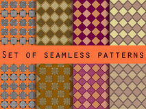 Seamless checkered patterns with dots and stripes. Royalty Free Stock Photos
