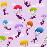 Seamless cheerful parachutists Royalty Free Stock Photo