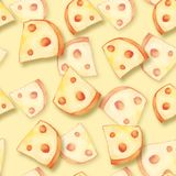 Seamless cheese pattern 4. Yellow seamless cheese pattern. Hand painted Royalty Free Stock Photo