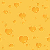 Seamless cheesy pattern with heart-shaped holes Royalty Free Stock Photos
