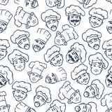 Seamless chefs and bakers in toques pattern Stock Photography