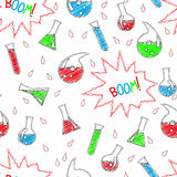 Seamless chemical pattern. In doodle style Royalty Free Stock Photography
