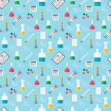 Seamless chemical pattern. Chemical glassware and reagents. Flat design. Vector Stock Photo