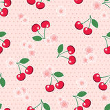 Seamless Cherries And Blossom On Polka Dot Background Royalty Free Stock Image