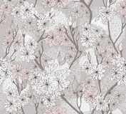 Seamless cherry blossom flowers pattern Stock Image