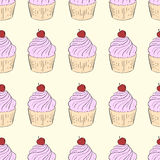 Seamless cherry cake Stock Photography