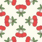 Seamless cherry pattern, fruit background Stock Photos