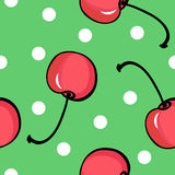 Seamless cherry pattern on green background Stock Images