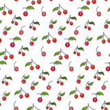 Seamless cherry pattern. Including sample in swatch panel ai Royalty Free Stock Photography