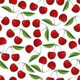 Seamless cherry pattern vector background Stock Images