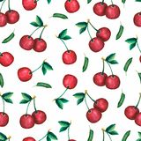 Seamless cherry pattern . Watercolor hand drawn illustration. Sweet red berry and green leaves stock illustration