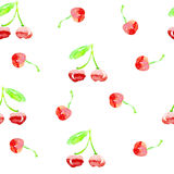 Seamless cherry pattern. Watercolor illustrated. 100% vector Stock Images
