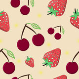 Seamless cherry strawberry. Vector illustration on yellow background - summer time Stock Photography