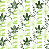 Seamless chestnut leaves pattern background with text Kyiv.  leaf is symbol of Ukraine capital Royalty Free Stock Photos
