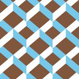 Seamless chevron ornament  pattern. Colorful white and light blue ornament on brown background. Geometric layout. 3D efect. Gift wrapping paper. Bed sheets and Stock Photography