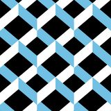 Seamless chevron ornament  pattern. White and light blue forms on black background. Stock Photography