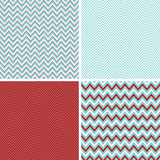 Seamless Chevron Patterns Aqua Blue, Dark Red and White Royalty Free Stock Image