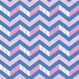Seamless chevron stripes vector pattern in pink, white and blue. 3-d zigzag stripes pattern vector illustration