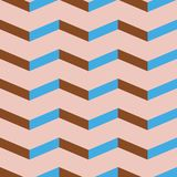 Seamless chevron vector pattern. Colorful blue and brick red zig zag on pale pink background. royalty free stock photo
