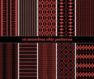 10 seamless chic patterns in black and red colors. Set of 10 various seamless chic patterns in black and red colors. Fashion geometric prints. Vector Vector Illustration