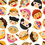Seamless child face pattern Stock Photos