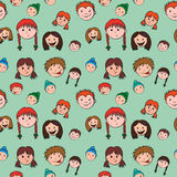 Seamless child face pattern Royalty Free Stock Photo