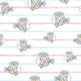 Seamless childish cute cartoon fish pattern. Seamless childish cute cartoon fish pattern on striped background royalty free illustration
