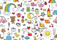 Seamless Childish Doodle Stock Image