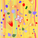 Seamless childish pattern with abstract tulips and butterfly Royalty Free Stock Photo