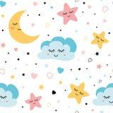 Seamless childish pattern with baby stars cloud moon Kids texture fabri wallpaper background Vector illustration. Seamless childish pattern Cute baby stars and stock illustration
