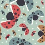 Seamless childish pattern with colorful ladybugs Royalty Free Stock Photography
