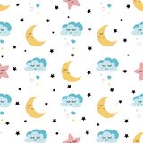 Seamless cute childish pattern with baby stars cloud moon Kids texture background Vector illustration. Seamless childish pattern Cute baby stars and clouds moon vector illustration
