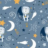 Seamless childish pattern with cute bears on clouds, moon, stars. Creative scandinavian style kids texture for fabric, wrapping,. Textile, wallpaper, apparel vector illustration