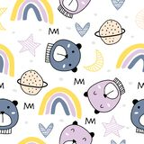 Seamless childish pattern with cute bears on clouds, rainbow, moon, stars. Cute cartoon Teddy bears. Vector baby background