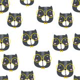 Seamless childish pattern with cute cats faces. Creative nursery background. Perfect for kids design, fabric, wrapping, wallpaper, Stock Image