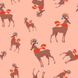 Seamless childish pattern with cute deer in the scarf. Creative kids texture for fabric, wrapping, textile, wallpaper stock illustration