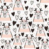 Seamless childish pattern with cute girl dear, hearts. Creative kids texture for fabric, wrapping, textile, wallpaper, apparel. vector illustration