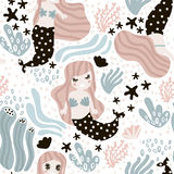 Seamless childish pattern with cute mermaids,seaweed, starfish. Undersea  trendy texture.Perfect for fabric,textile,wrapping Royalty Free Stock Images