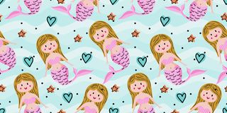 Seamless childish pattern with cute mermaids. Undersea vector illustration trendy texture. Perfect for fabric,textile,wrapping