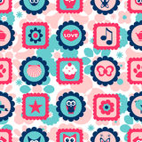 Seamless childish pattern with cute stamps Stock Images