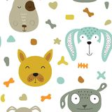 Seamless  childish pattern with dog animal faces as backround or texture. For kids design, fabric, wrapping, wallpaper, textile Royalty Free Stock Image