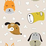 Seamless  childish pattern with dog animal faces as backround or texture. For kids design, fabric, wrapping, wallpaper, textile Royalty Free Stock Photo