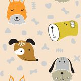 Seamless  childish pattern with dog animal faces as backround or texture. For kids design, fabric, wrapping, wallpaper, textile Stock Photo