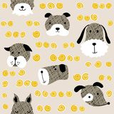 Seamless  childish pattern with dog animal faces as backround or texture. For kids design, fabric, wrapping, wallpaper, textile Royalty Free Stock Photos