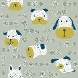Seamless  childish pattern with dog animal faces as backround or texture. For kids design, fabric, wrapping, wallpaper, textile Stock Images