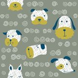 Seamless  childish pattern with dog animal faces as backround or texture. For kids design, fabric, wrapping, wallpaper, textile Stock Image